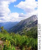 Вид на горный массив летним днем. Саяны, Хакасия. Стоковое фото, фотограф Ворошилова Анна / Фотобанк Лори
