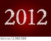 Купить «Дата 2012 из бриллиантов на темно-красном фоне, иллюстрация», иллюстрация № 2980589 (c) Elisanth / Фотобанк Лори