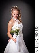 Купить «Светловолосая невеста в свадебном белом платье», фото № 2980953, снято 19 декабря 2018 г. (c) Ольга Хорькова / Фотобанк Лори