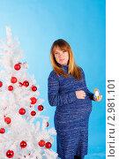 Купить «Беременная женщина возле белой новогодней елки», фото № 2981101, снято 24 сентября 2018 г. (c) Ольга Хорькова / Фотобанк Лори