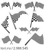 Купить «Черно-белые клетчатые гоночные флаги», иллюстрация № 2988545 (c) Павел Коновалов / Фотобанк Лори