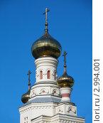 Купить «Золотые купола церкви на фоне голубого неба», фото № 2994001, снято 25 мая 2011 г. (c) Дмитрий Соловьев / Фотобанк Лори