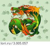 Купить «Зеленый (элемент-дерево) восточный дракон», иллюстрация № 3005057 (c) Анастасия Некрасова / Фотобанк Лори