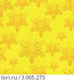 Бесшовный жёлтый фон с цветами. Стоковая иллюстрация, иллюстратор Татьяна Гришина / Фотобанк Лори