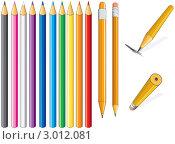 Набор цветных карандашей. Стоковая иллюстрация, иллюстратор PILart / Фотобанк Лори