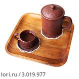 Восточный чайный набор на деревянном подносе. Стоковое фото, фотограф хлебников алексей / Фотобанк Лори