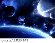 Купить «Космическая сцена», иллюстрация № 3030141 (c) Лукиянова Наталья / Фотобанк Лори