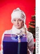Купить «Снегурочка держит синий новогодний подарок на красном фоне с елкой», фото № 3030929, снято 10 декабря 2011 г. (c) Андрей Батурин / Фотобанк Лори