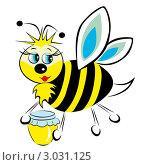 Купить «Пчела несет в лапах баночку с медом», иллюстрация № 3031125 (c) Анна Зайцева / Фотобанк Лори