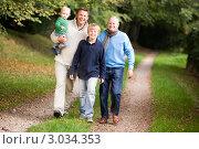 Купить «Три поколения мужчин в осеннем парке», фото № 3034353, снято 18 октября 2006 г. (c) Monkey Business Images / Фотобанк Лори