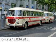"""Купить «Выставка в Берлине """"125 лет автомобилю"""": автобус Шкода 706 RTO (вид сбоку)», фото № 3034913, снято 25 июня 2019 г. (c) Sergey Kohl / Фотобанк Лори"""