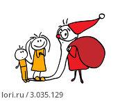 Купить «Дети поймали Деда Мороза и ждут подарков», иллюстрация № 3035129 (c) Евгения Малахова / Фотобанк Лори