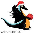 Купить «Черный дракон в шапке Деда Мороза держит елочную игрушку», иллюстрация № 3035389 (c) Ирина Кротова / Фотобанк Лори