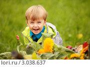 Мальчик, ребенок улыбается с цветами. Стоковое фото, фотограф Светлана  Ковалевская / Фотобанк Лори