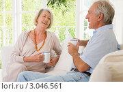 Купить «Пожилая пара пьет кофе в гостиной», фото № 3046561, снято 13 мая 2000 г. (c) Monkey Business Images / Фотобанк Лори