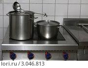 Кастрюли на плите в школьной кухне. Стоковое фото, фотограф Дмитрий Куш / Фотобанк Лори