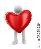 Купить «Трехмерный человек держит большое красное сердце. 3D», иллюстрация № 3058529 (c) Ильин Сергей / Фотобанк Лори