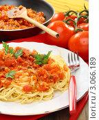 Купить «Спагетти с томатным соусом и зеленью на тарелке», фото № 3066189, снято 18 декабря 2011 г. (c) Марина Сапрунова / Фотобанк Лори