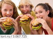 Школьники едят гамбургеры. Стоковое фото, фотограф Monkey Business Images / Фотобанк Лори