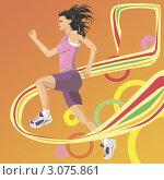 Девушка бежит и пересекает финишную черту. Стоковая иллюстрация, иллюстратор Irina Burtseva / Фотобанк Лори