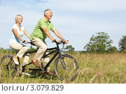 Купить «Счастливая зрелая семейная пара на велосипеде-тандеме катается по лугу», фото № 3079829, снято 24 июня 2009 г. (c) Monkey Business Images / Фотобанк Лори