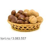 Купить «Каштаны и грецкие орехи», фото № 3083557, снято 24 декабря 2011 г. (c) Ласточкин Евгений / Фотобанк Лори