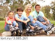 Купить «Счастливая семья с детьми на роликах в парке отдыхает», фото № 3085261, снято 13 августа 2009 г. (c) Monkey Business Images / Фотобанк Лори