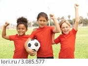 Купить «Портрет трех радостных девочек на футбольном поле», фото № 3085577, снято 18 августа 2009 г. (c) Monkey Business Images / Фотобанк Лори