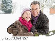Купить «Портрет счастливой пожилой пары зимой», фото № 3091857, снято 12 января 2010 г. (c) Monkey Business Images / Фотобанк Лори