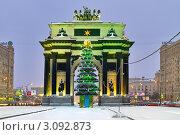 Купить «Праздничная подсветка Триумфальной арки и новогодняя елка во время снегопада, Москва», фото № 3092873, снято 23 декабря 2011 г. (c) Fro / Фотобанк Лори