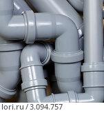 Фон с серыми пластиковыми канализационными трубами. Стоковое фото, фотограф Дмитрий Наумов / Фотобанк Лори