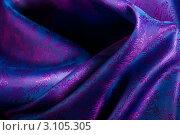 Купить «Фиолетово-сиреневая шелковая ткань с цветочным орнаментом», фото № 3105305, снято 12 декабря 2011 г. (c) Сергей Новиков / Фотобанк Лори