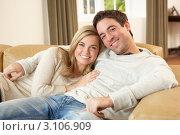 Купить «Счастливая улыбающаяся молодая пара на диване», фото № 3106909, снято 11 ноября 2010 г. (c) Monkey Business Images / Фотобанк Лори