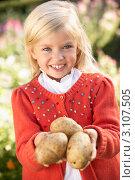 Купить «Девочка держит в руках картошку нового урожая», фото № 3107505, снято 10 ноября 2010 г. (c) Monkey Business Images / Фотобанк Лори