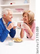Купить «Пожилая пара общается и пьет кофе с печеньем в кухне», фото № 3110089, снято 7 декабря 2010 г. (c) Monkey Business Images / Фотобанк Лори
