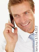 Купить «Привлекательный мужчина разговаривает по мобильному телефону», фото № 3114517, снято 26 февраля 2011 г. (c) Monkey Business Images / Фотобанк Лори
