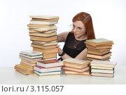Купить «Девушка готовится к экзамену», фото № 3115057, снято 17 декабря 2011 г. (c) Михаил Иванов / Фотобанк Лори
