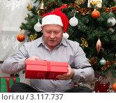 Купить «Мужчина в колпаке Санта Клауса с подарком сидит под Ёлкой», эксклюзивное фото № 3117737, снято 1 января 2012 г. (c) Игорь Низов / Фотобанк Лори
