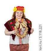 Купить «Женщина в народном русском костюме со связкой баранок на белом фоне», фото № 3118221, снято 15 октября 2011 г. (c) Яков Филимонов / Фотобанк Лори