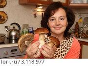 Купить «Хозяйка на кухне с белыми грибами», эксклюзивное фото № 3118977, снято 9 октября 2011 г. (c) Дмитрий Неумоин / Фотобанк Лори