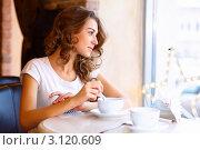 Купить «Молодая симпатичная девушка в кафе у окна», фото № 3120609, снято 18 июля 2018 г. (c) Sergey Nivens / Фотобанк Лори