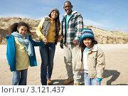 Купить «Молодые чернокожие родители прогуливаются с детьми по зимнему пляжу», фото № 3121437, снято 1 сентября 2000 г. (c) Monkey Business Images / Фотобанк Лори