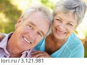 Купить «Портрет счастливой пожилой пары на природе», фото № 3121981, снято 22 февраля 2011 г. (c) Monkey Business Images / Фотобанк Лори