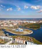 Купить «Вид на Сургут с высоты полета», фото № 3125037, снято 15 сентября 2011 г. (c) Владимир Мельников / Фотобанк Лори