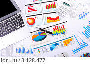 Купить «Бизнес-натюрморт с графиками, диаграммами, ноутбуков, калькулятором и ручкой», фото № 3128477, снято 7 августа 2018 г. (c) Sergey Nivens / Фотобанк Лори