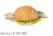 Купить «Гамбургер с деньгами на белом фоне», фото № 3131761, снято 18 ноября 2011 г. (c) Артем Поваров / Фотобанк Лори