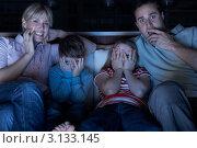 Купить «Семья смотрит страшную программу», фото № 3133145, снято 5 января 2011 г. (c) Monkey Business Images / Фотобанк Лори