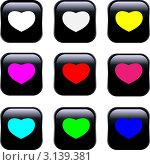 Черные кнопки с разноцветными сердечками. Стоковая иллюстрация, иллюстратор Ольга Зайцева / Фотобанк Лори