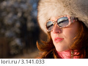 Купить «Портрет девушки в солнцезащитных очках и меховой шапке на прогулке зимой», фото № 3141033, снято 9 января 2009 г. (c) CandyBox Images / Фотобанк Лори