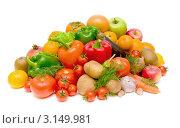 Купить «Свежие фрукты и овощи на белом фоне», фото № 3149981, снято 18 ноября 2011 г. (c) Ласточкин Евгений / Фотобанк Лори